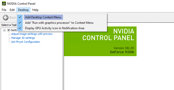 Nvidia Control Panel missing options